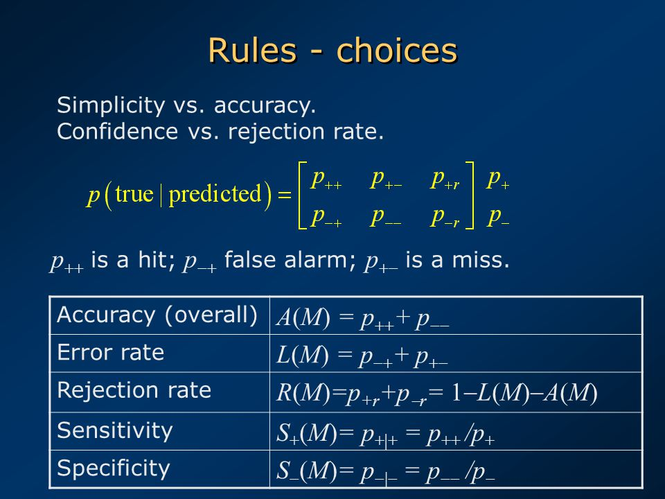 Rules - choices Accuracy (overall) A(M) = p  + p  Error rate L(M) = p  + p  Rejection rate R(M)=p +r +p  r = 1  L(M)  A(M) Sensitivity S + (M)= p +|+ = p ++ /p + Specificity S  (M)= p  = p  /p  p  is a hit; p  false alarm; p  is a miss.