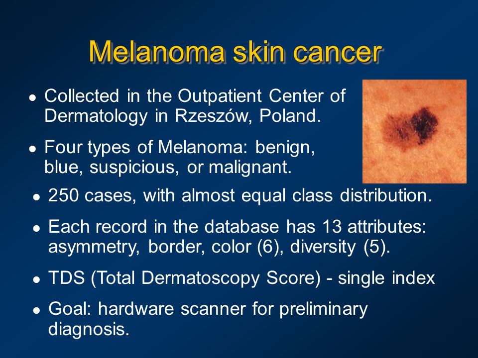 l Collected in the Outpatient Center of Dermatology in Rzeszów, Poland. l Four types of Melanoma: benign, blue, suspicious, or malignant. l 250 cases,