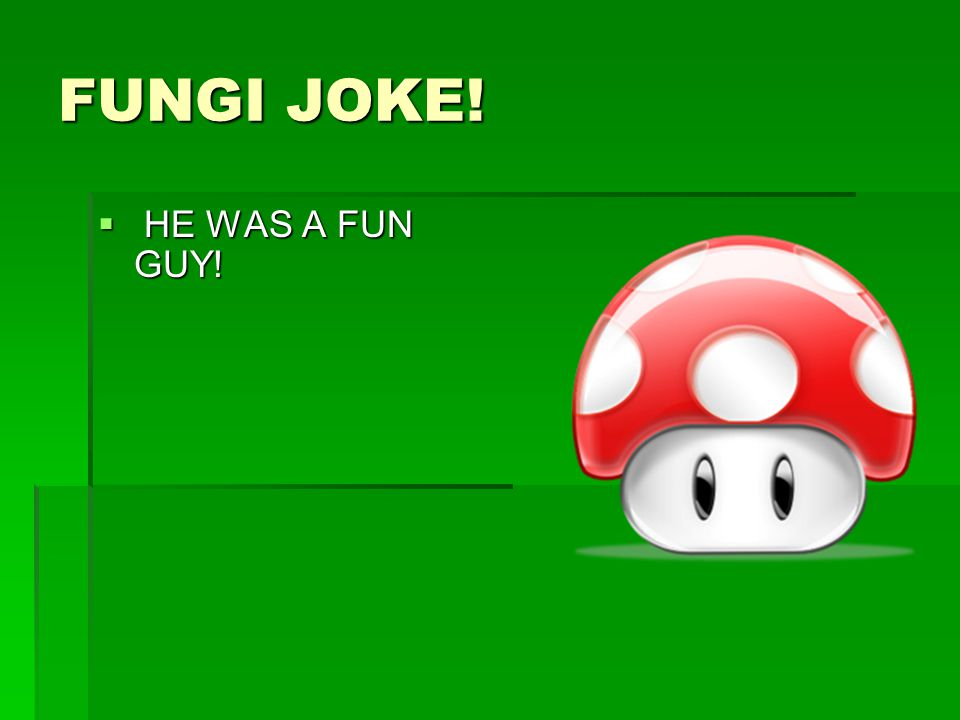 FUNGI JOKE!  HE WAS A FUN GUY!