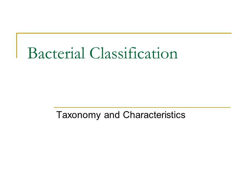 Bacterial Classification Taxonomy and Characteristics