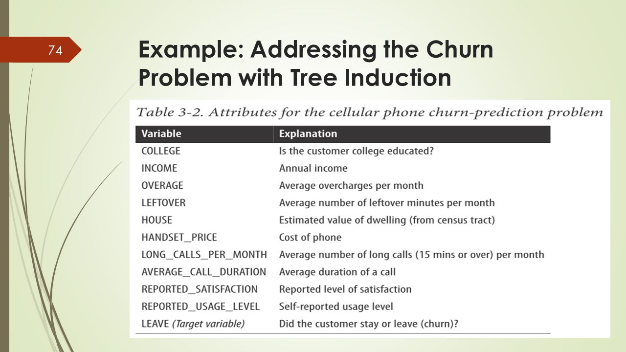 Example: Addressing the Churn Problem with Tree Induction 74