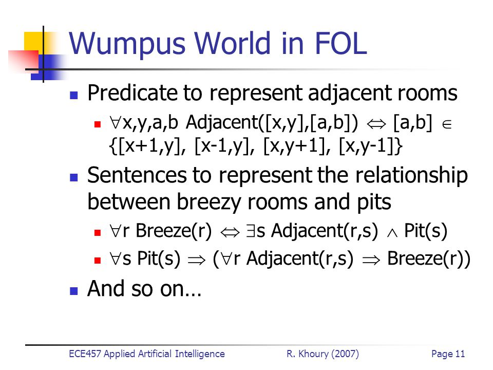 ECE457 Applied Artificial Intelligence R. Khoury (2007)Page 11 Wumpus World in FOL Predicate to represent adjacent rooms  x,y,a,b Adjacent([x,y],[a,b