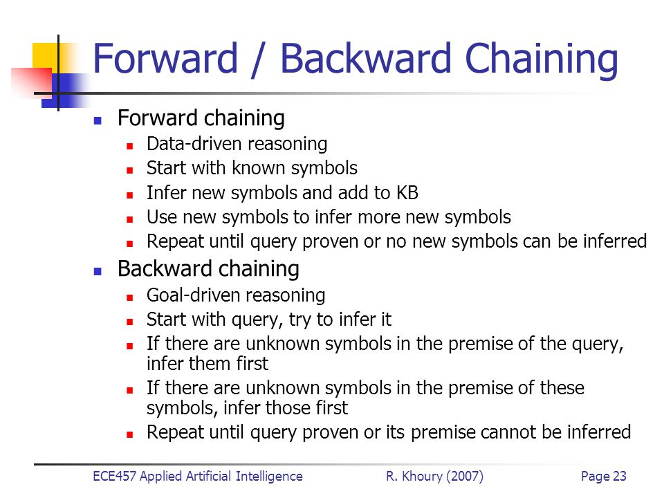 ECE457 Applied Artificial Intelligence R. Khoury (2007)Page 23 Forward / Backward Chaining Forward chaining Data-driven reasoning Start with known sym