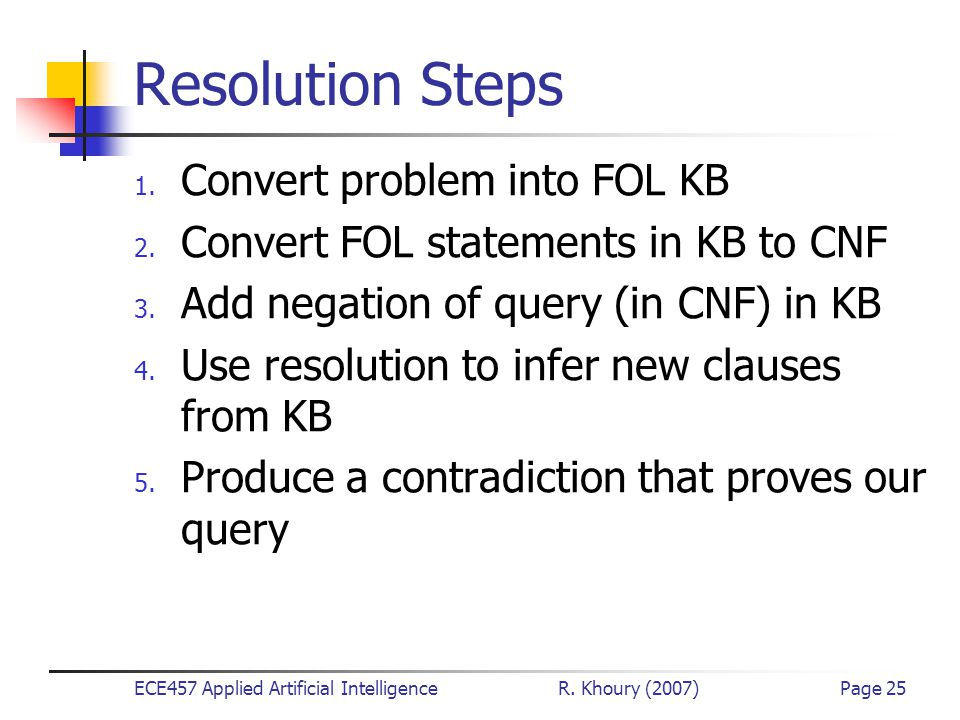 ECE457 Applied Artificial Intelligence R. Khoury (2007)Page 25 Resolution Steps 1. Convert problem into FOL KB 2. Convert FOL statements in KB to CNF