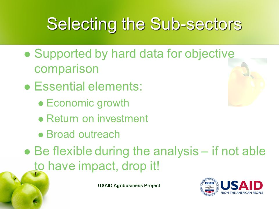 USAID Agribusiness Project Selecting the Sub-sectors Supported by hard data for objective comparison Essential elements: Economic growth Return on investment Broad outreach Be flexible during the analysis – if not able to have impact, drop it!