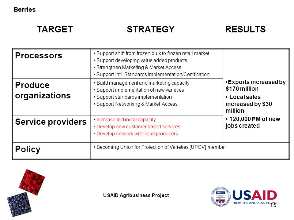 USAID Agribusiness Project 15 Processors Support shift from frozen bulk to frozen retail market Support developing value added products Strengthen Marketing & Market Access Support Intl.