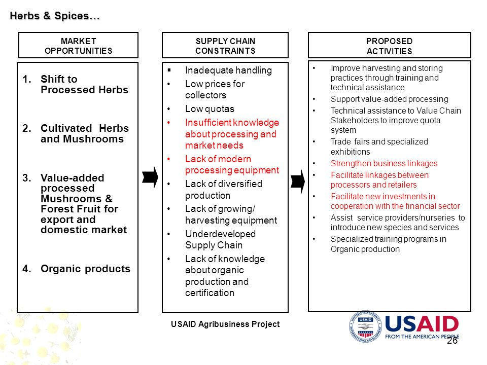 USAID Agribusiness Project 26 MARKET OPPORTUNITIES SUPPLY CHAIN CONSTRAINTS PROPOSED ACTIVITIES 1.