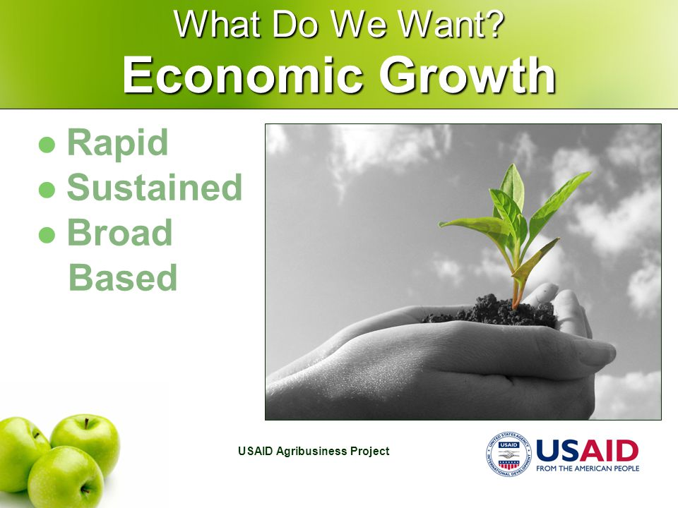 USAID Agribusiness Project What Do We Want Rapid Sustained Broad Based Economic Growth