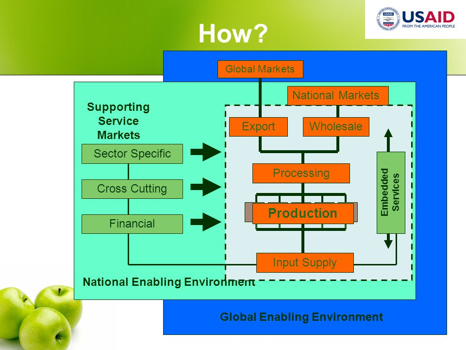USAID Agribusiness Project Global Enabling Environment National Enabling Environment Embedded Services How.