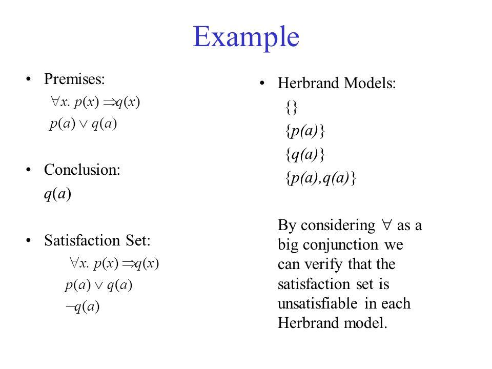Example Premises:  x. p(x)  q(x) p(a)  q(a) Conclusion: q(a) Satisfaction Set:  x.