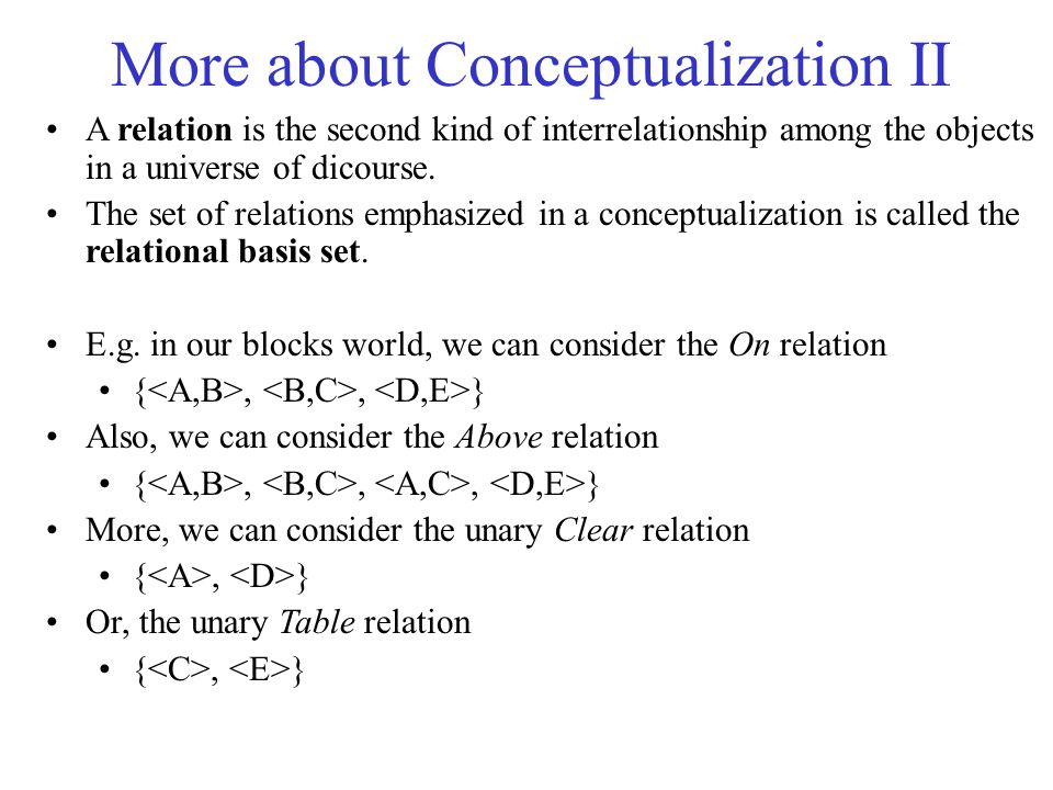 More about Conceptualization II A relation is the second kind of interrelationship among the objects in a universe of dicourse. The set of relations e