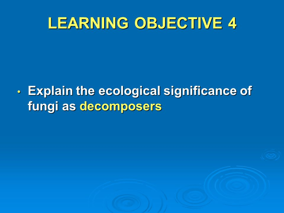 LEARNING OBJECTIVE 4 Explain the ecological significance of fungi as decomposers Explain the ecological significance of fungi as decomposers