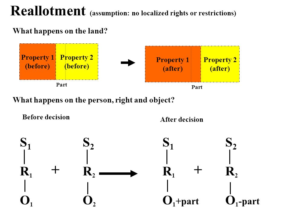 Reallotment (assumption: no localized rights or restrictions) Before decision S1S1 S2S2 O1O1 R2R2 O2O2 After decision + What happens on the land.