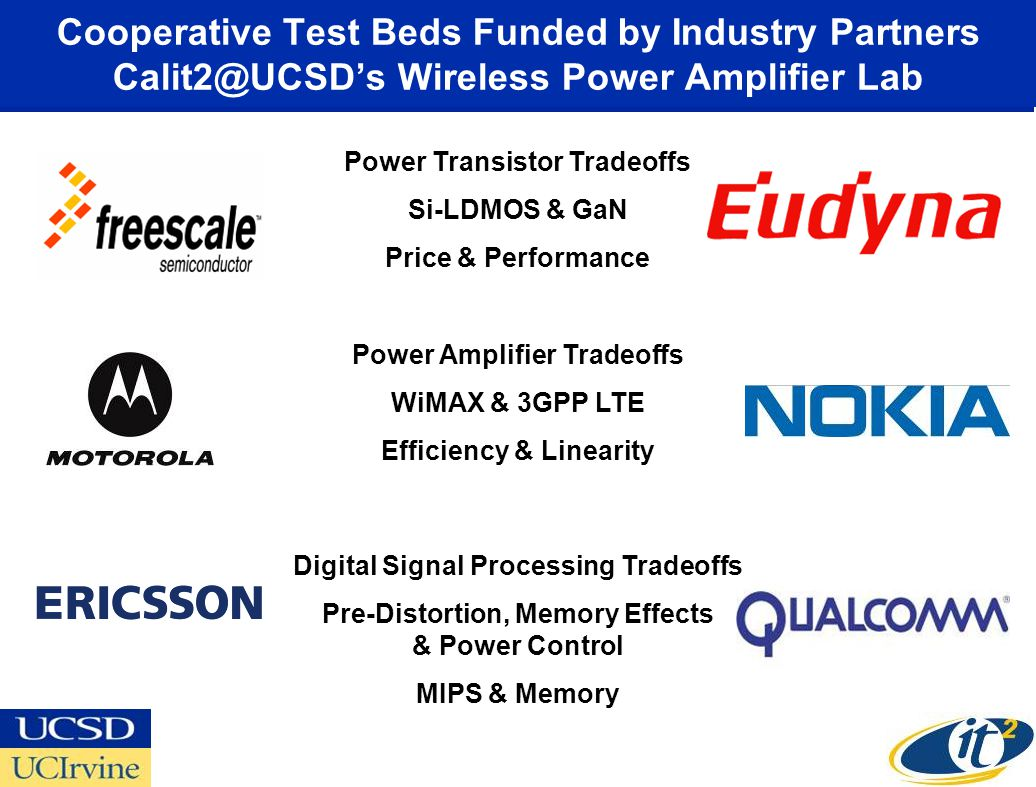 Cooperative Test Beds Funded by Industry Partners Calit2@UCSD's Wireless Power Amplifier Lab Power Transistor Tradeoffs Si-LDMOS & GaN Price & Performance Power Amplifier Tradeoffs WiMAX & 3GPP LTE Efficiency & Linearity Digital Signal Processing Tradeoffs Pre-Distortion, Memory Effects & Power Control MIPS & Memory