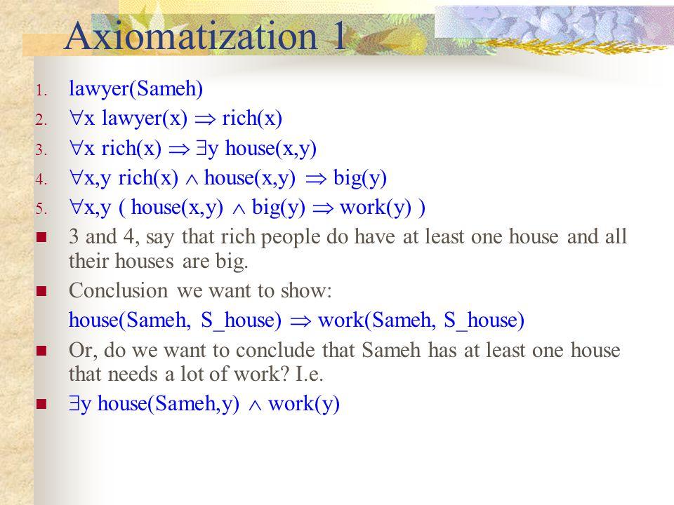 Axiomatization 1 1. lawyer(Sameh) 2.  x lawyer(x)  rich(x) 3.