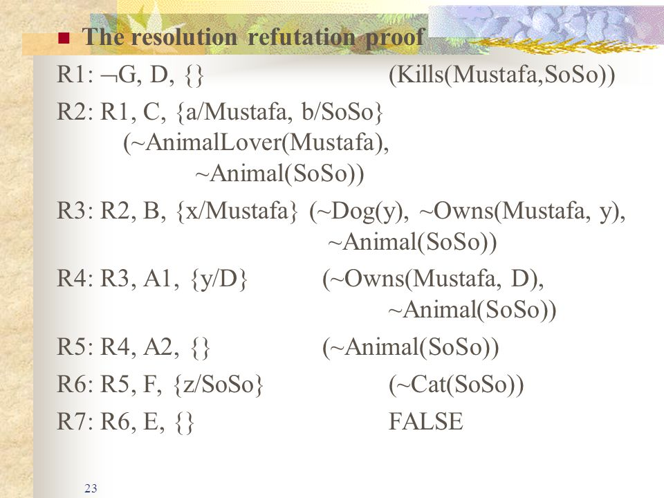 23 The resolution refutation proof R1:  G, D, {}(Kills(Mustafa,SoSo)) R2: R1, C, {a/Mustafa, b/SoSo} (~AnimalLover(Mustafa), ~Animal(SoSo)) R3: R2, B