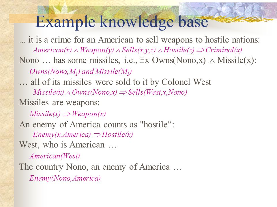 Example knowledge base... it is a crime for an American to sell weapons to hostile nations: American(x)  Weapon(y)  Sells(x,y,z)  Hostile(z)  Crim