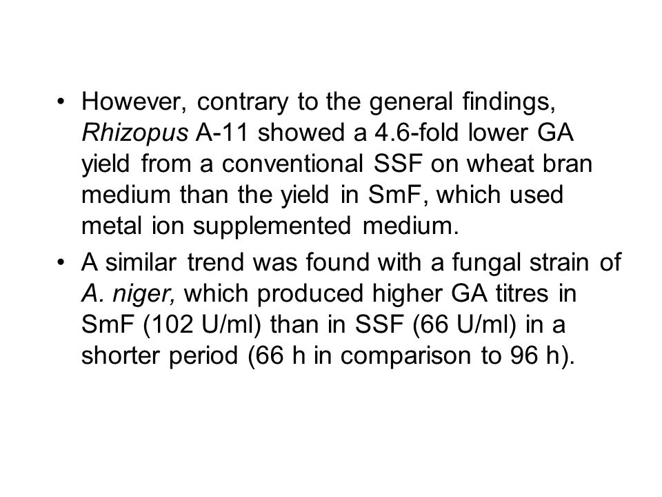 However, contrary to the general findings, Rhizopus A-11 showed a 4.6-fold lower GA yield from a conventional SSF on wheat bran medium than the yield