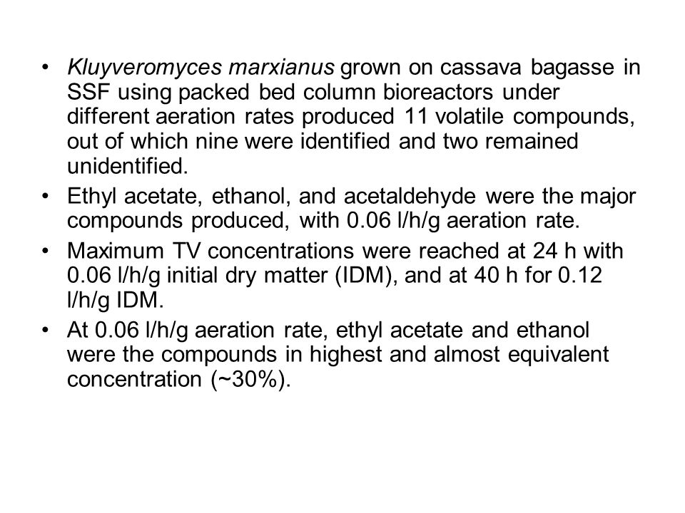 Kluyveromyces marxianus grown on cassava bagasse in SSF using packed bed column bioreactors under different aeration rates produced 11 volatile compou