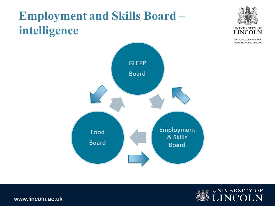 www.lincoln.ac.uk Employment and Skills Board – intelligence GLEPP Board Employment & Skills Board Food Board