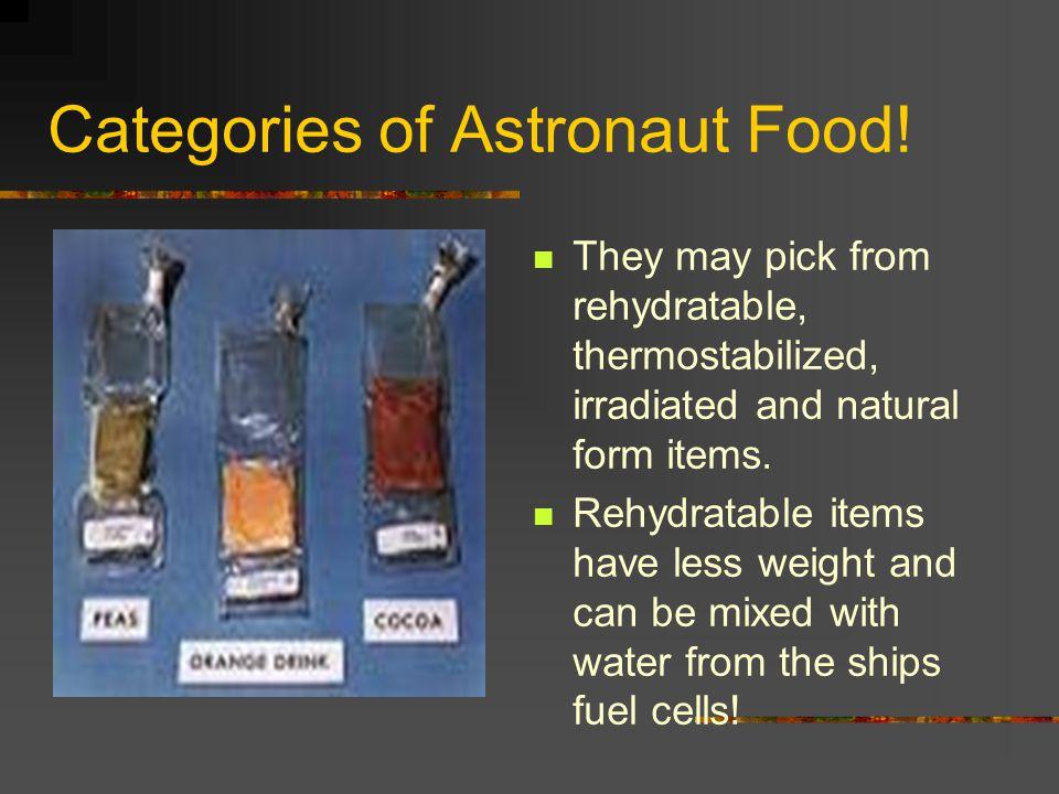 Categories of Astronaut Food.