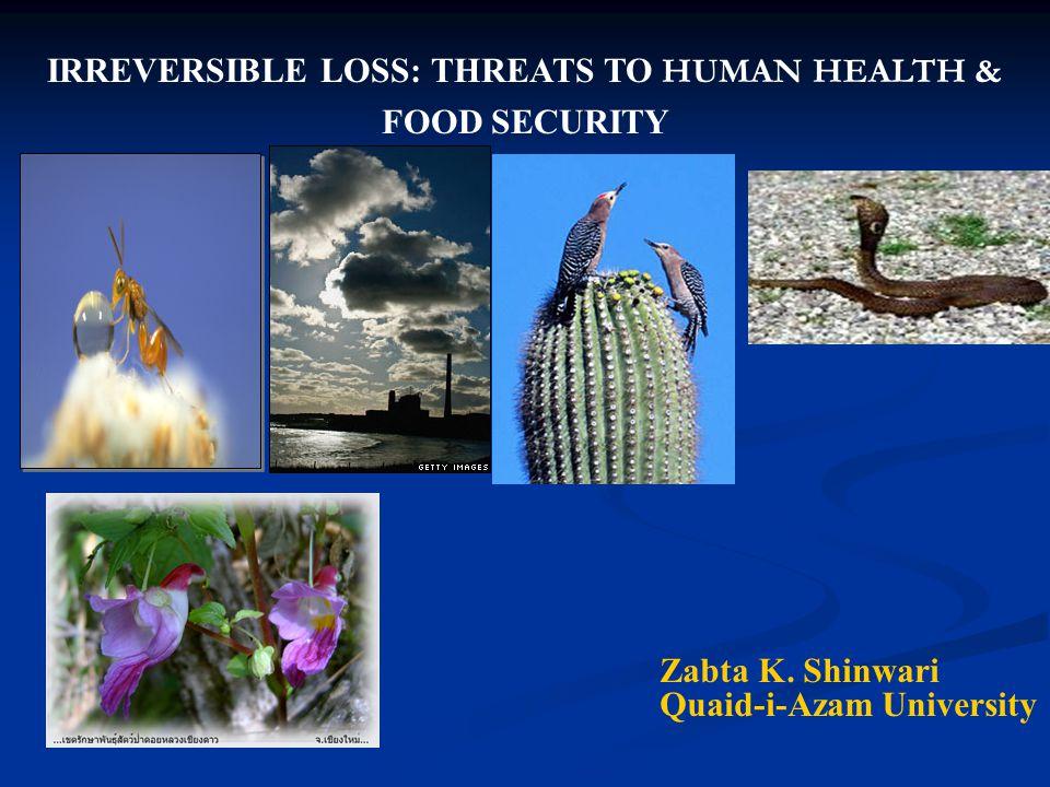 IRREVERSIBLE LOSS: THREATS TO HUMAN HEALTH & FOOD SECURITY Zabta K. Shinwari Quaid-i-Azam University