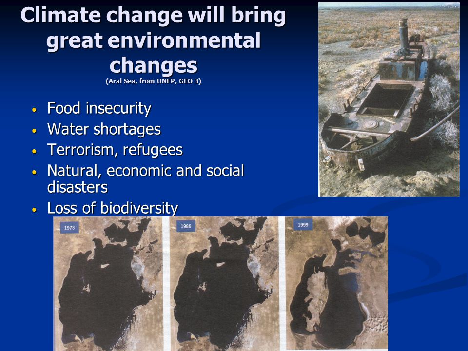 Climate change will bring great environmental changes (Aral Sea, from UNEP, GEO 3) Food insecurity Food insecurity Water shortages Water shortages Ter
