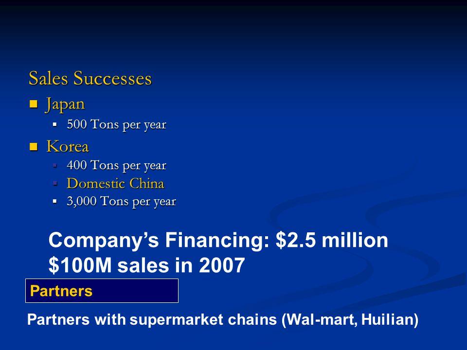 Sales Successes Japan Japan  500 Tons per year Korea Korea  400 Tons per year  Domestic China  3,000 Tons per year Company's Financing: $2.5 milli