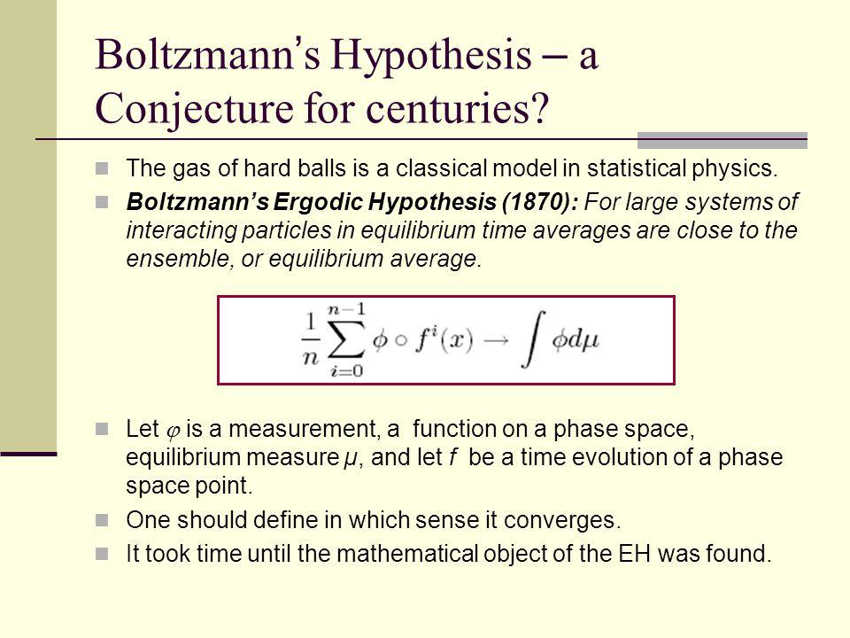 Boltzmann ' s Hypothesis – a Conjecture for centuries.
