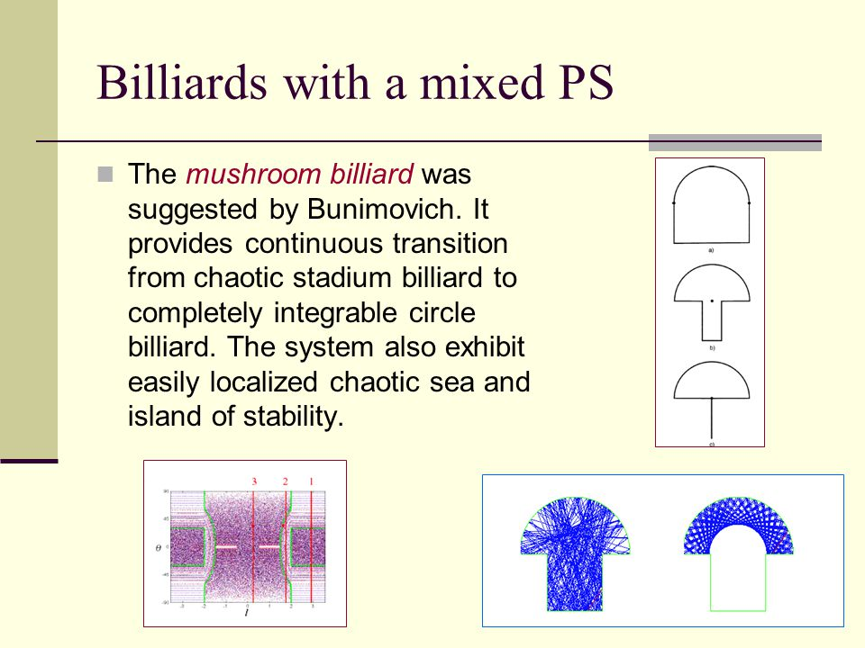 Billiards with a mixed PS The mushroom billiard was suggested by Bunimovich.