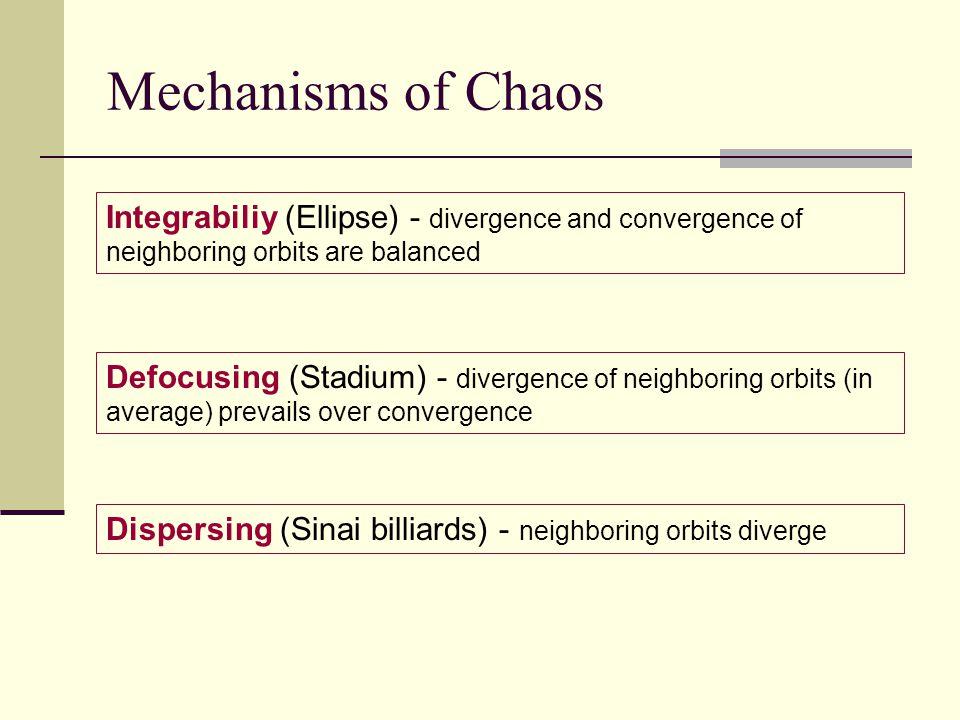 Mechanisms of Chaos Defocusing (Stadium) - divergence of neighboring orbits (in average) prevails over convergence Dispersing (Sinai billiards) - neighboring orbits diverge Integrabiliy (Ellipse) - divergence and convergence of neighboring orbits are balanced