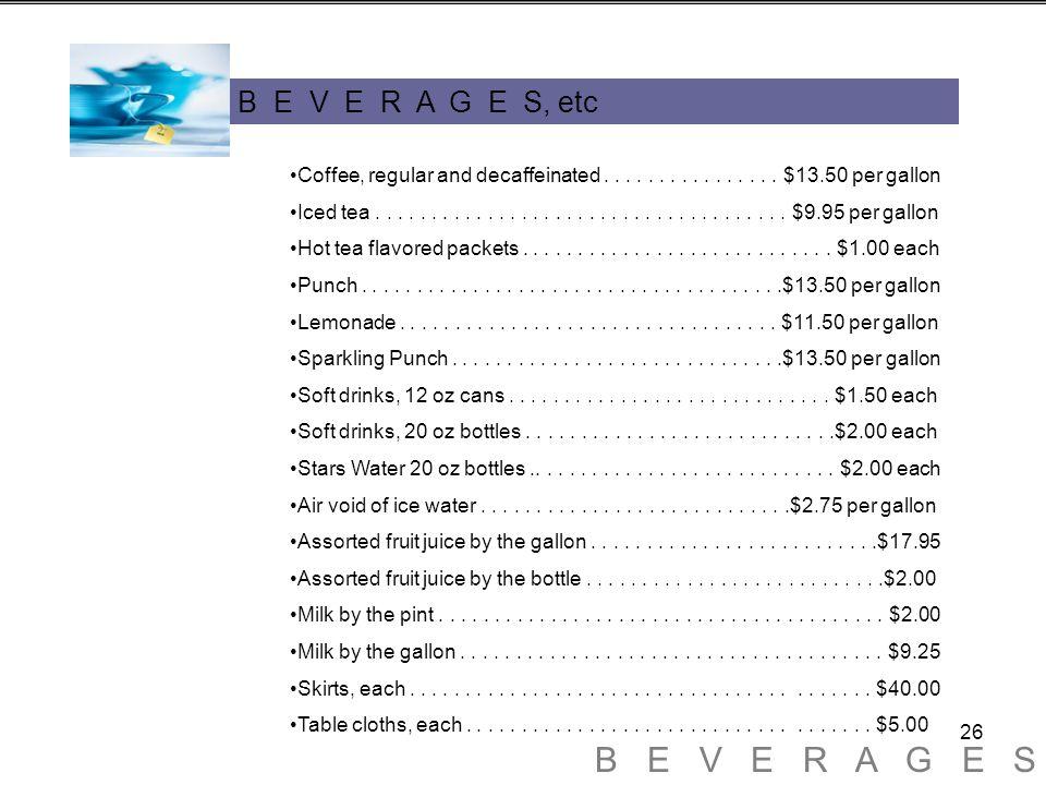 26 B E V E R A G E S, etc Coffee, regular and decaffeinated................