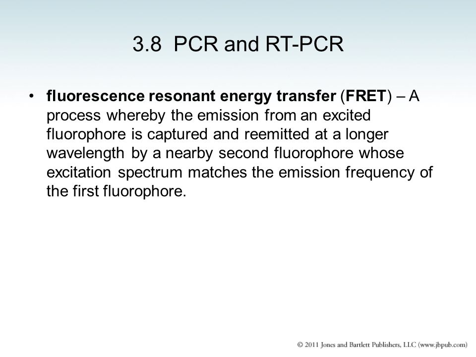 3.8 PCR and RT-PCR fluorescence resonant energy transfer (FRET) – A process whereby the emission from an excited fluorophore is captured and reemitted