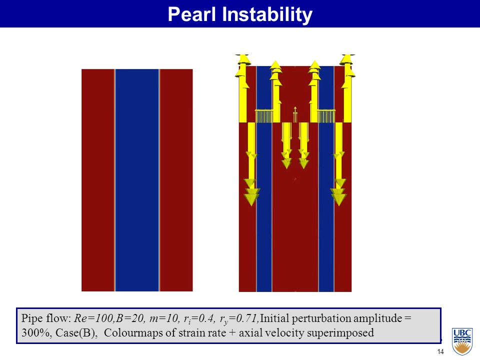 14 Pearl Instability Pipe flow: Re=100,B=20, m=10, r i =0.4, r y =0.71,Initial perturbation amplitude = 300%, Case(B), Colourmaps of strain rate + axial velocity superimposed