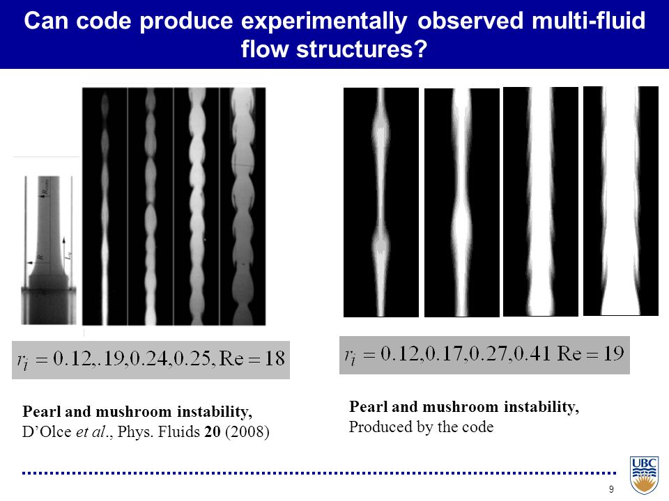 9 Can code produce experimentally observed multi-fluid flow structures? Pearl and mushroom instability, D'Olce et al., Phys. Fluids 20 (2008) Pearl an
