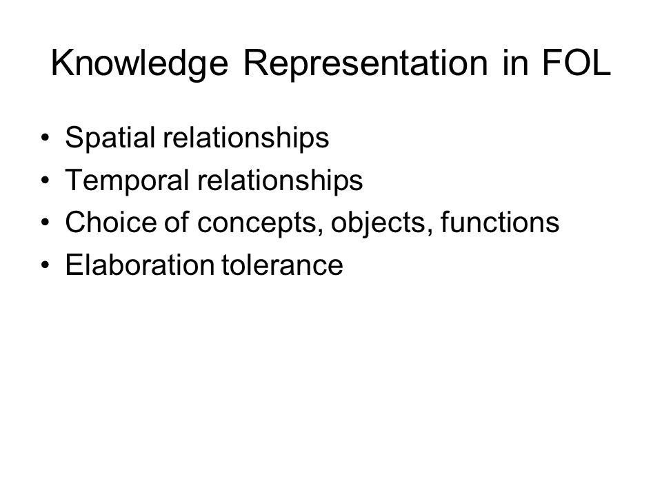 Knowledge Representation in FOL Spatial relationships Temporal relationships Choice of concepts, objects, functions Elaboration tolerance
