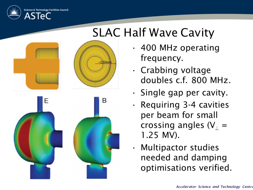 Accelerator Science and Technology Centre SLAC Half Wave Cavity 400 MHz operating frequency.