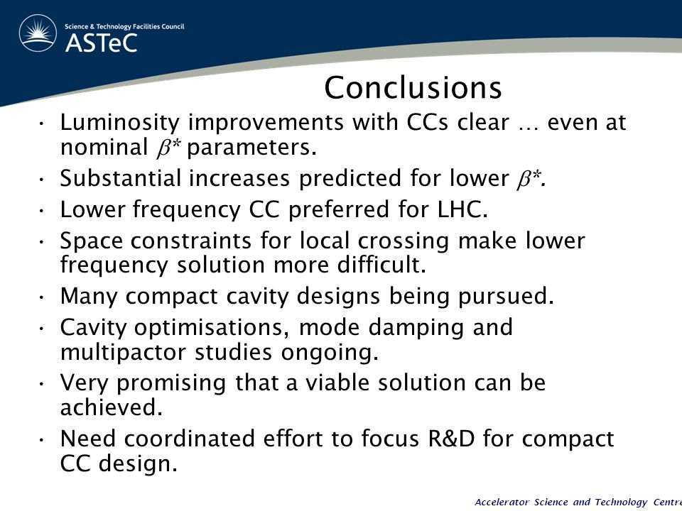Accelerator Science and Technology Centre Conclusions Luminosity improvements with CCs clear … even at nominal  * parameters.