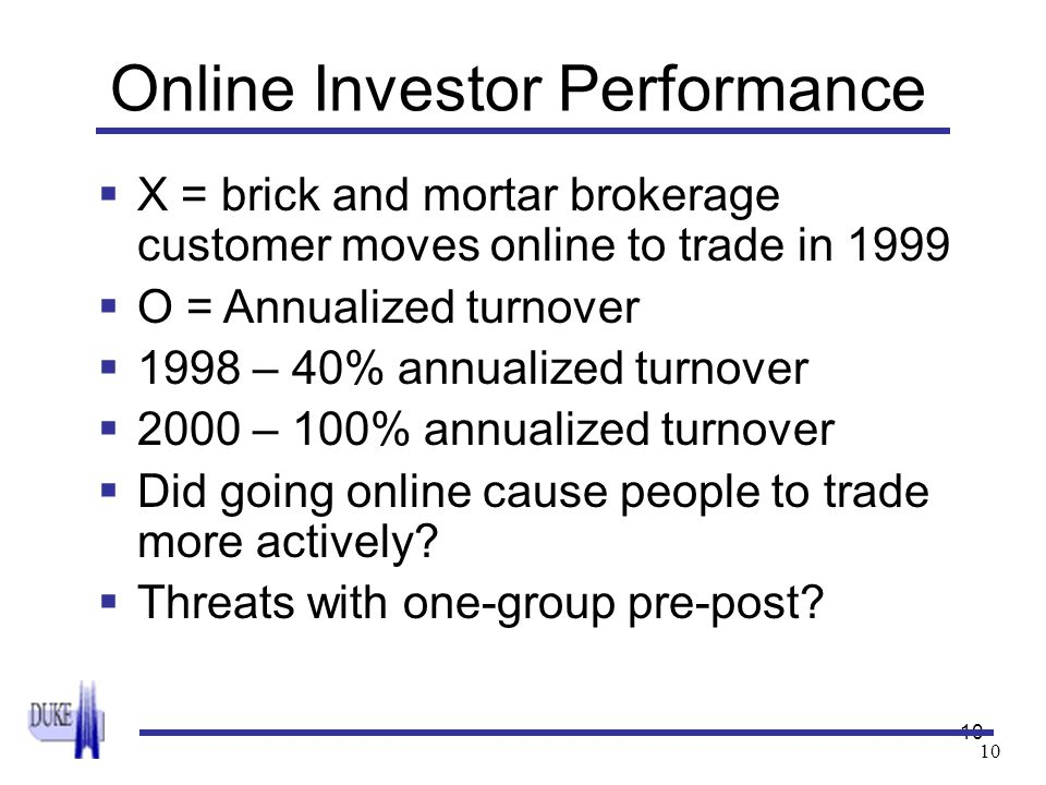 10 Online Investor Performance  X = brick and mortar brokerage customer moves online to trade in 1999  O = Annualized turnover  1998 – 40% annualiz