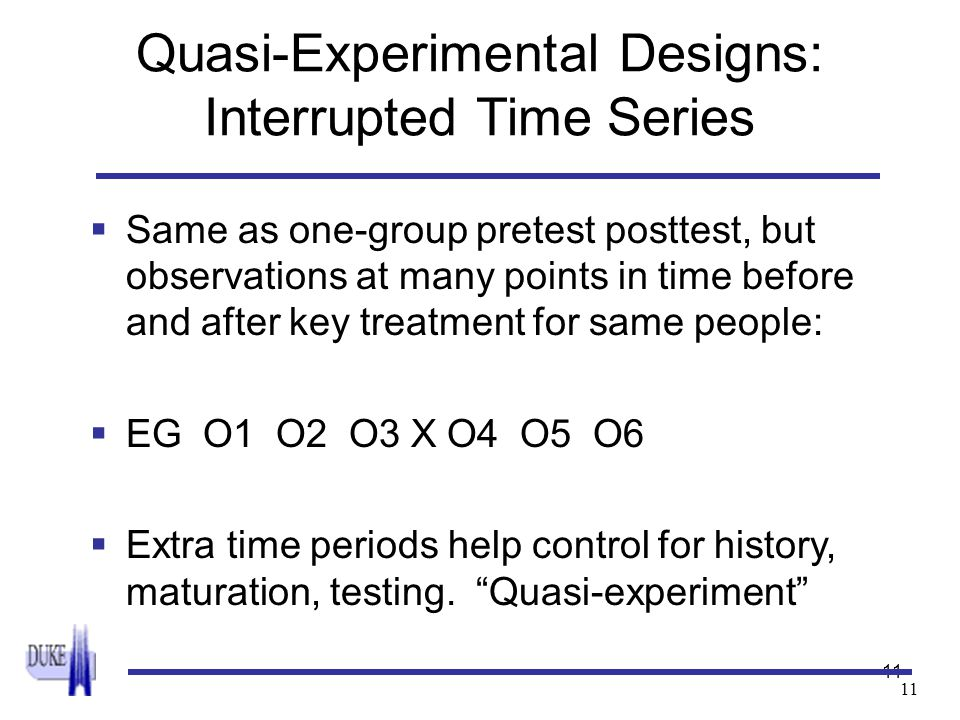 11 Quasi-Experimental Designs: Interrupted Time Series  Same as one-group pretest posttest, but observations at many points in time before and after