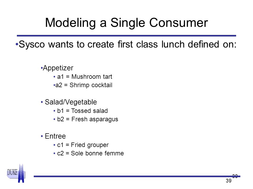 39 Modeling a Single Consumer Sysco wants to create first class lunch defined on: Appetizer a1 = Mushroom tart a2 = Shrimp cocktail Salad/Vegetable b1