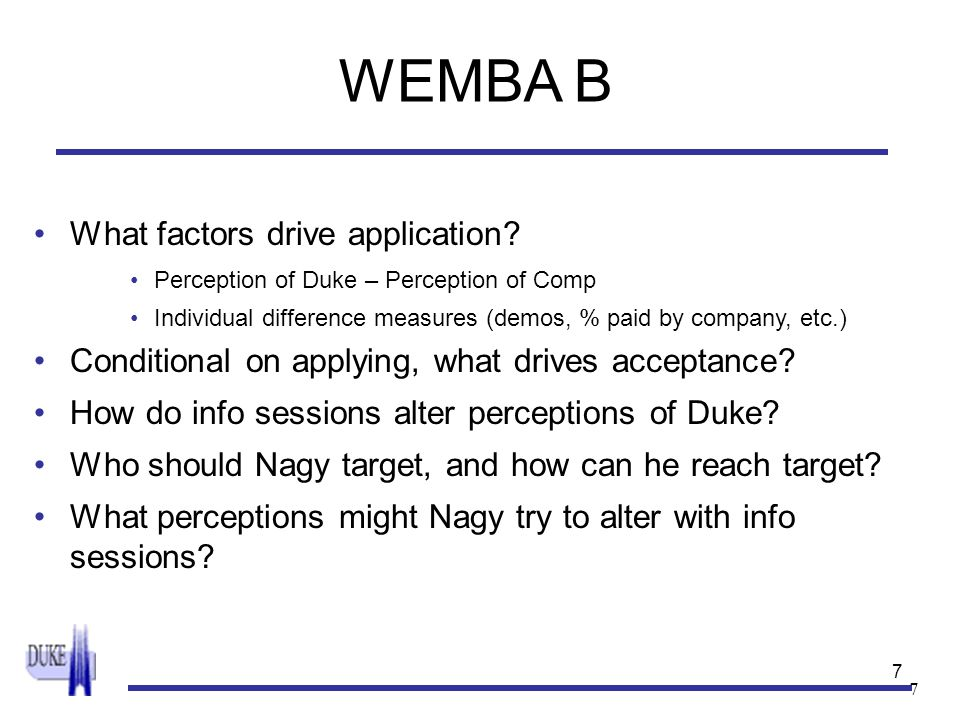 7 7 WEMBA B What factors drive application? Perception of Duke – Perception of Comp Individual difference measures (demos, % paid by company, etc.) Co
