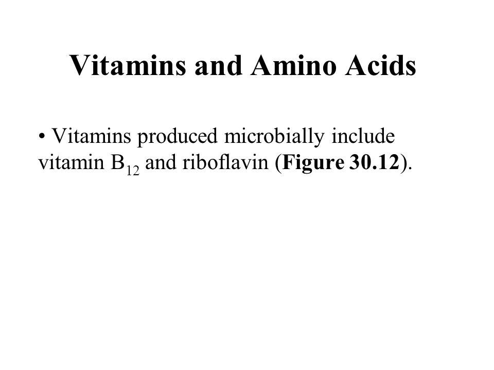 Vitamins and Amino Acids Vitamins produced microbially include vitamin B 12 and riboflavin (Figure 30.12).