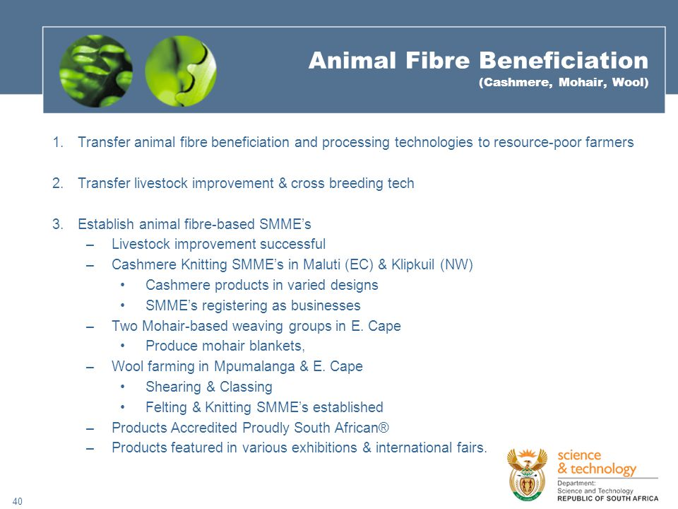 40 Animal Fibre Beneficiation (Cashmere, Mohair, Wool) 1.Transfer animal fibre beneficiation and processing technologies to resource-poor farmers 2.Transfer livestock improvement & cross breeding tech 3.Establish animal fibre-based SMME's –Livestock improvement successful –Cashmere Knitting SMME's in Maluti (EC) & Klipkuil (NW) Cashmere products in varied designs SMME's registering as businesses –Two Mohair-based weaving groups in E.