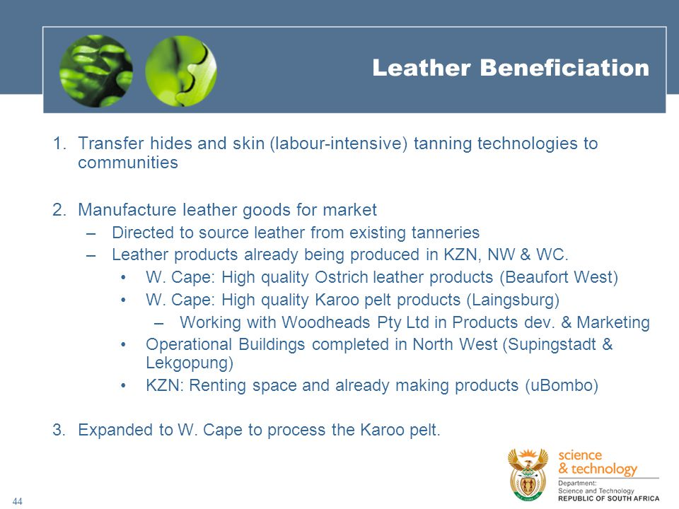 44 Leather Beneficiation 1.Transfer hides and skin (labour-intensive) tanning technologies to communities 2.Manufacture leather goods for market –Directed to source leather from existing tanneries –Leather products already being produced in KZN, NW & WC.