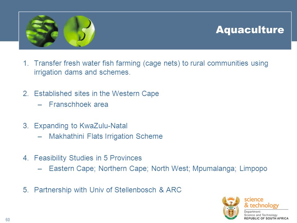 60 Aquaculture 1.Transfer fresh water fish farming (cage nets) to rural communities using irrigation dams and schemes.
