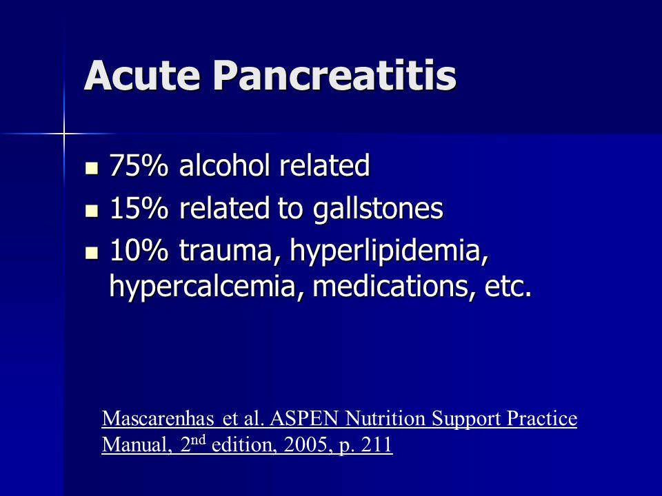 Acute Pancreatitis 75% alcohol related 75% alcohol related 15% related to gallstones 15% related to gallstones 10% trauma, hyperlipidemia, hypercalcem
