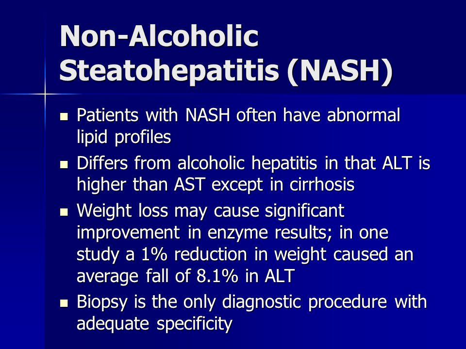 Non-Alcoholic Steatohepatitis (NASH) Patients with NASH often have abnormal lipid profiles Patients with NASH often have abnormal lipid profiles Diffe