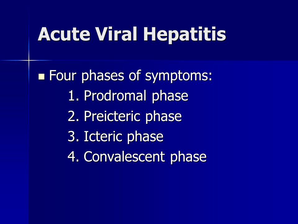 Acute Viral Hepatitis Four phases of symptoms: Four phases of symptoms: 1. Prodromal phase 2. Preicteric phase 3. Icteric phase 4. Convalescent phase