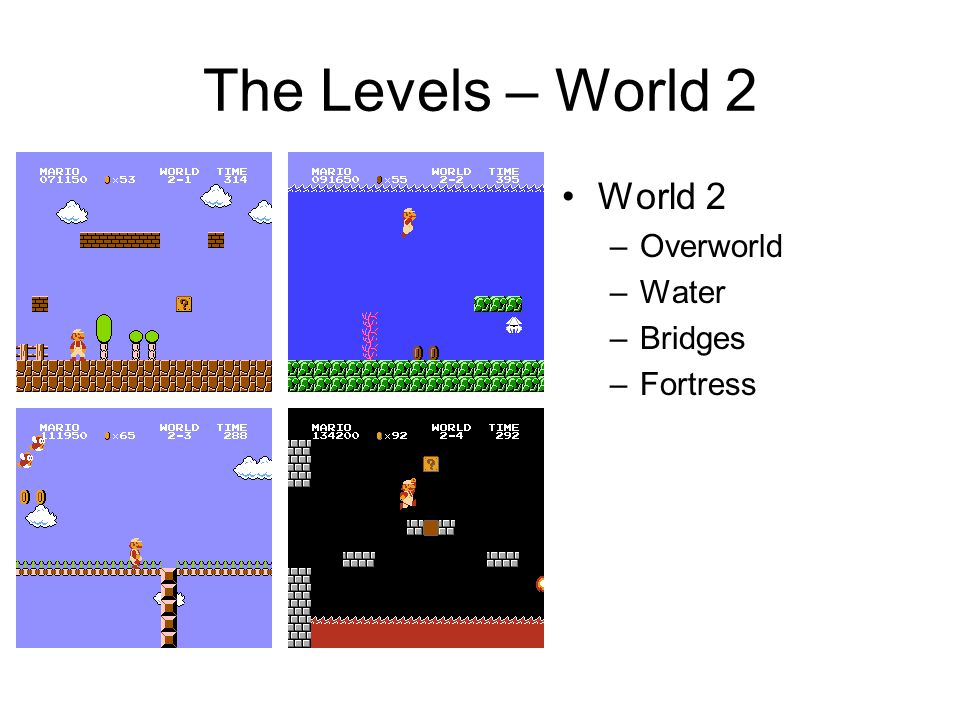 The Levels – World 2 World 2 –Overworld –Water –Bridges –Fortress